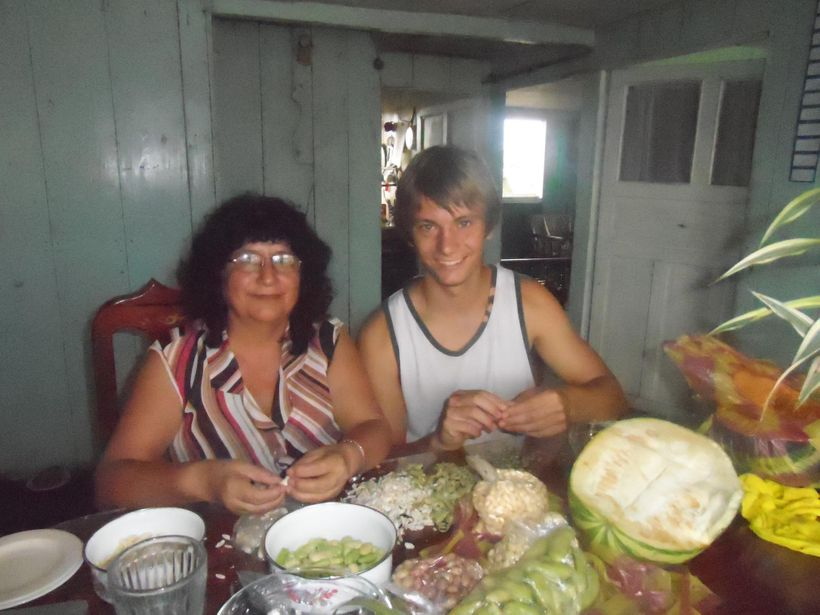 """Nathan cooking with his Global Citizen Year host mother, Farita. Nathan says """"Farita is a wonderful cook and has the most hea"""