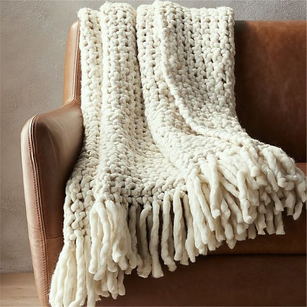 """CB2's answer to the chunky knit blanket trend is the """"overlook throw."""" <a href=""""https://www.cb2.com/overlook-throw/s575401"""" t"""