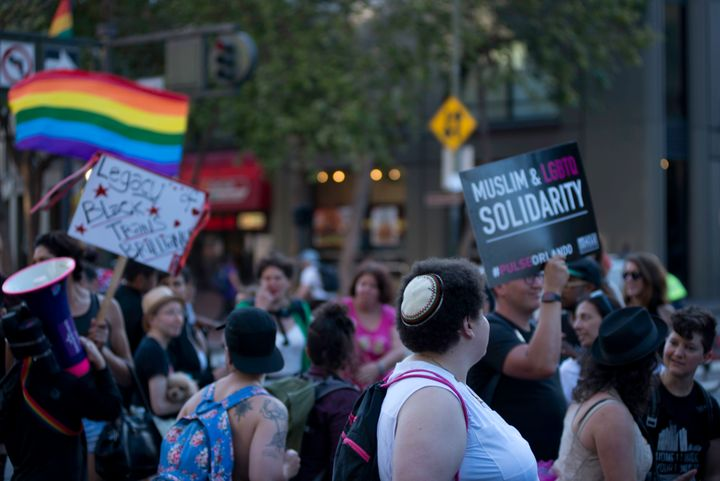 People participate in the Transmarch in San Francisco on June 24, 2016.