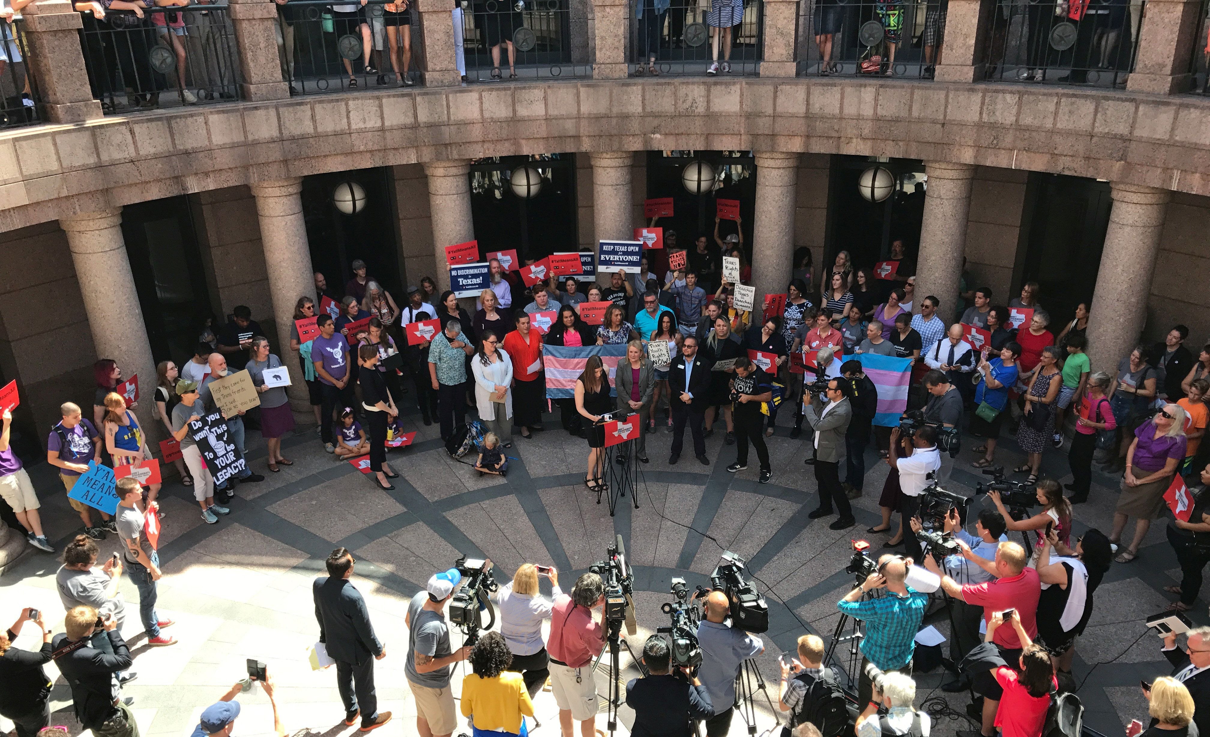 "Civil rights groups hold a news conference against a so-called ""bathroom bill"" at the Texas Capitol in Austin, Texas, U.S., July 21, 2017.   REUTERS/Jon Herskovitz"