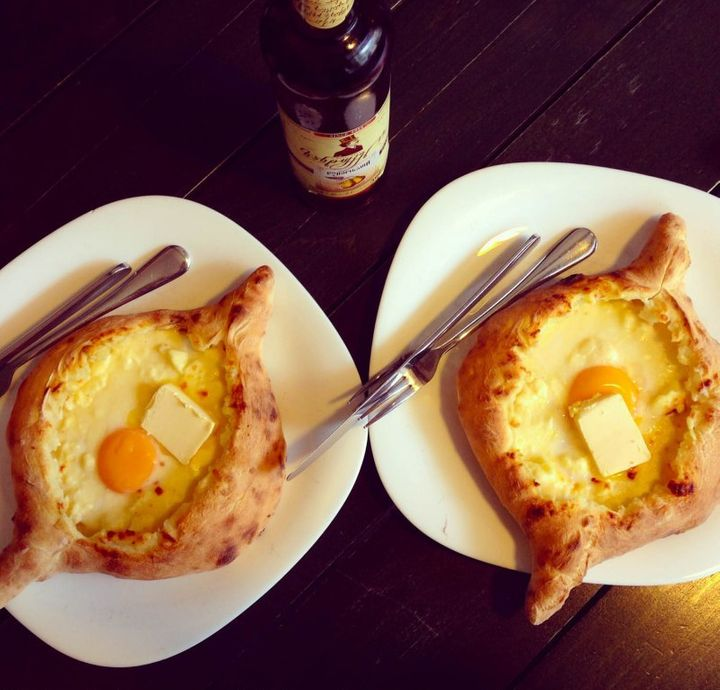 "Acharuli Khachapuri, specialty of <a rel=""nofollow"" href=""https://travelwithnanob.com/category/georgia/"" target=""_blank"">Geor"