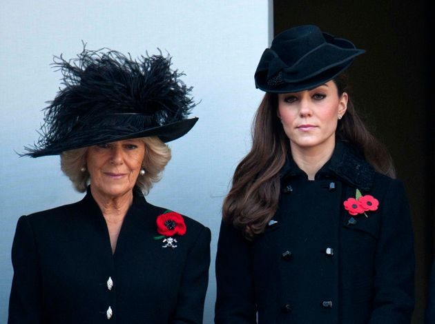 Camilla, Duchess of Cornwall and Catherine, Duchess of Cambridge on a balcony at the Cenotaph in Whitehall,...