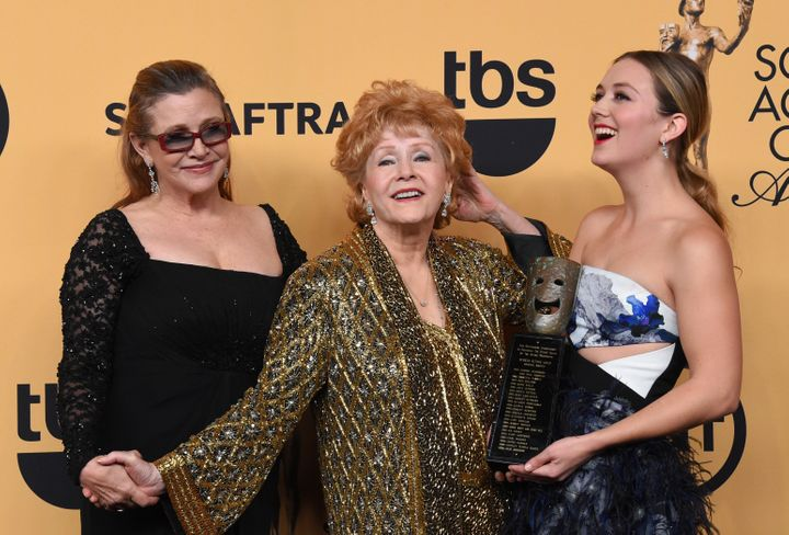 Carrie Fisher, Debbie Reynolds and Billie Lourd at the 21st Annual Screen Actors Guild Awards
