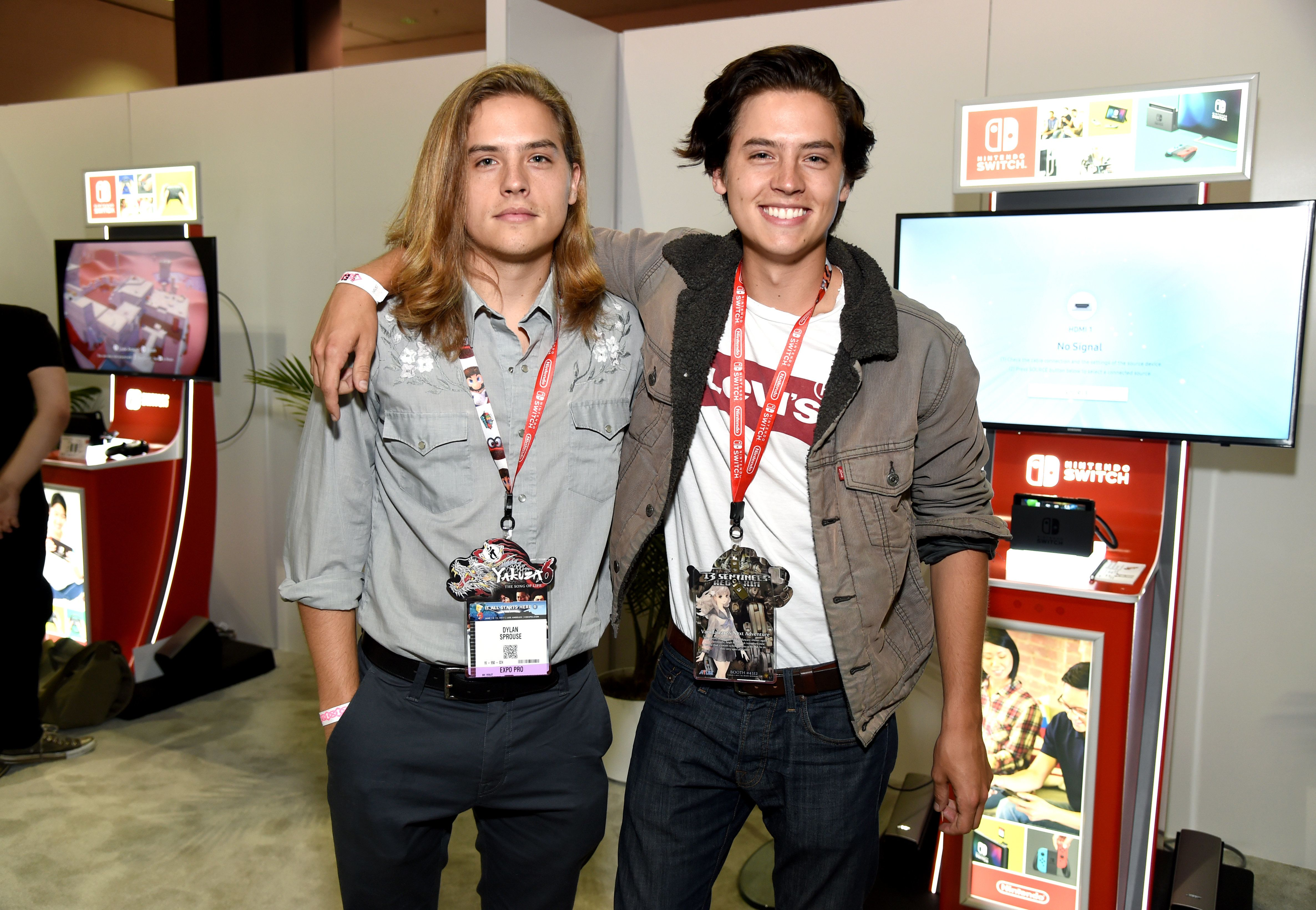 LOS ANGELES, CA - JUNE 13: Dylan Sprouse and Cole Sprouse visit the Nintendo booth at the 2017 E3 Gaming Convention at Los Angeles Convention Center on June 13, 2017 in Los Angeles, California.  (Photo by Michael Kovac/Getty Images for Nintendo)
