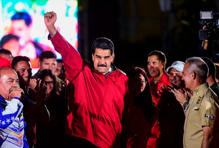 Venezuelan President Nicolás Maduro celebrates the results of the Constituent Assembly vote. Caracas. July 31, 2017.