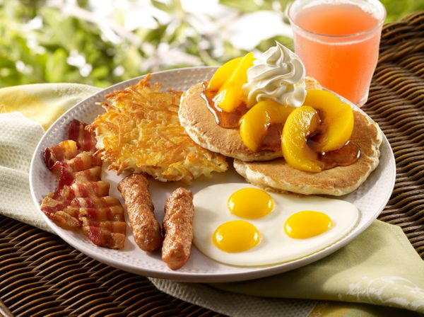 This is what you get when you just can't make a decision. We're talking eggs, bacon and/or sausage, hash browns AND pancakes.