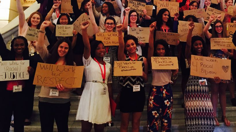 GirlGov participants stage protest at PA State Capitol.