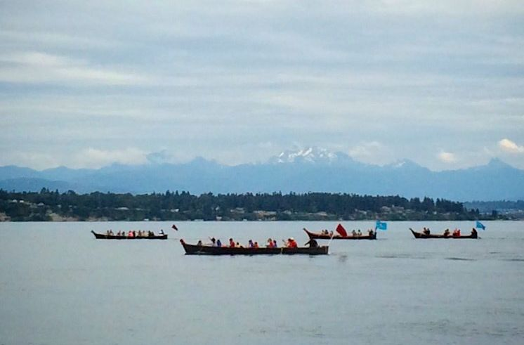 The annual tribal canoe journey. Pacific Northwest tribes gather in Campbell River, BC, this year.