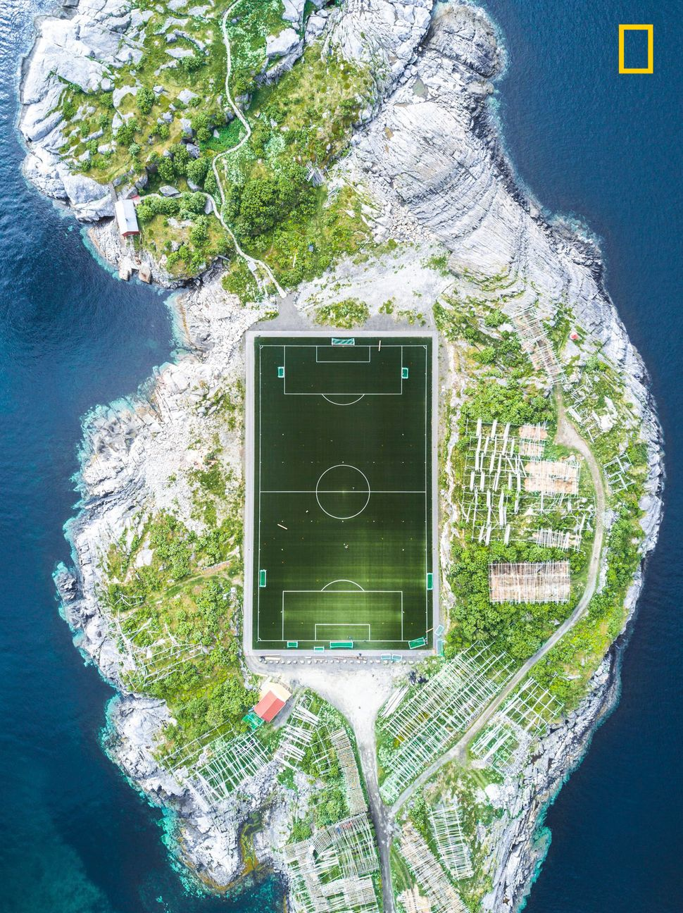 """This football field in Henningsvær in the Lofoten Islands is considered one of the most amazing fields in Europe, and"
