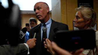 Montana Republican congressman-elect Greg Gianforte appears in court to face a charge of misdemeanor assault after he was accused of attacking a reporter on the eve of his election, in Bozeman, Montana, U.S., June 12, 2017.  REUTERS/Tommy Martino