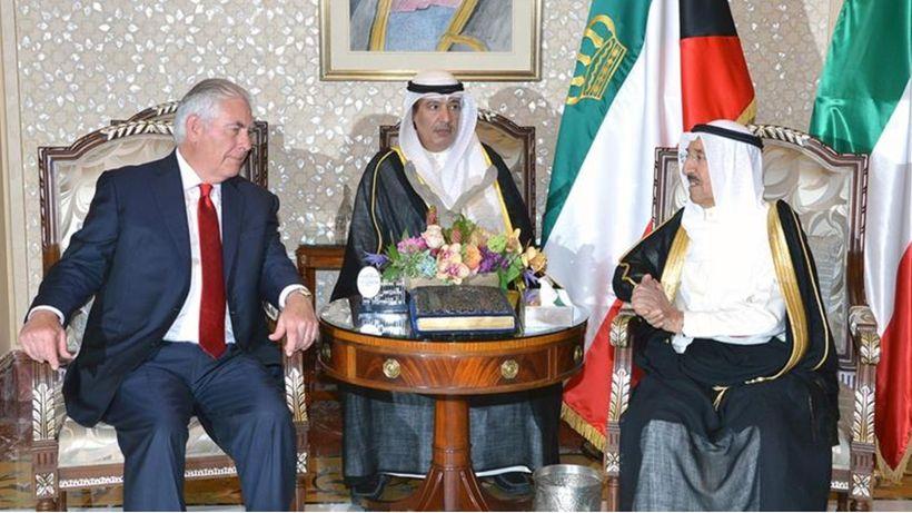 The Emir of Kuwait Sheikh Sabah Al Ahmad Al Sabah hosted a meeting with Tillerson <em>at Dar Salwa July 10, 2017 in Kuwait</e