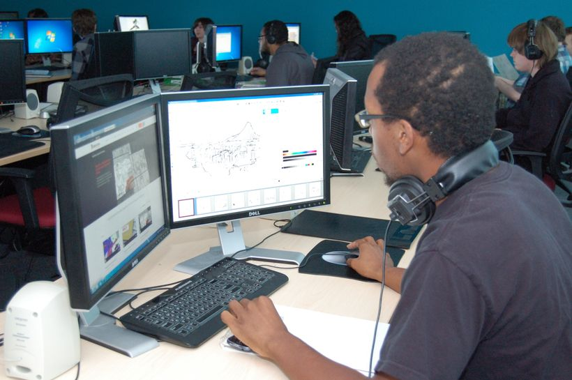 Forsyth Technical Community College students prepare for careers in digital design.