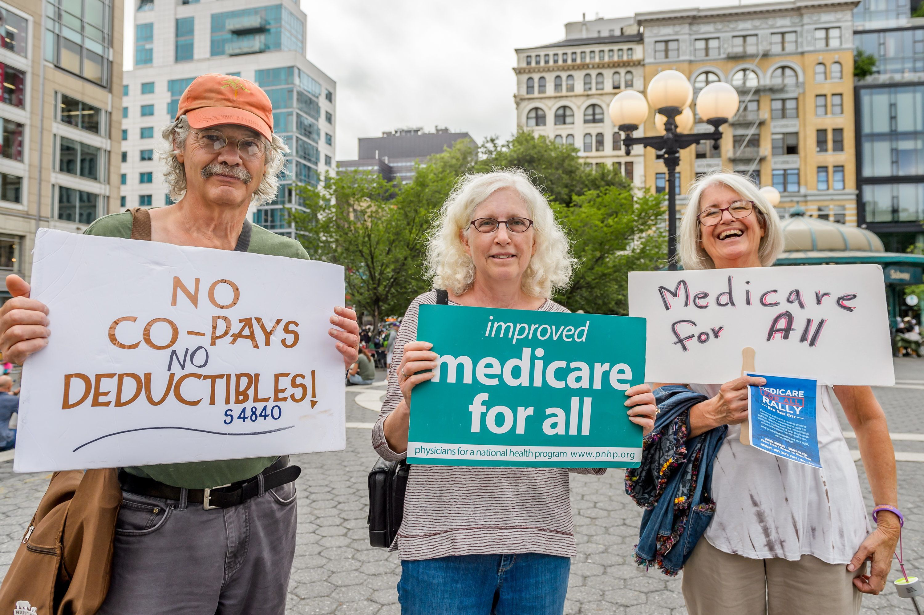 UNION SQUARE, NEW YORK, UNITED STATES - 2017/07/24: Hundreds of New Yorkers joined a grassroots alliance of health care advocates in a rally on the steps of Union Square to demand a universal, single payer, improved and expanded Medicare healthcare system and an end to for-profit healthcare. Coordinating rallies have been organized in communities across the country, with the founding rally being held in Washington D.C. (Photo by Erik McGregor/Pacific Press/LightRocket via Getty Images)