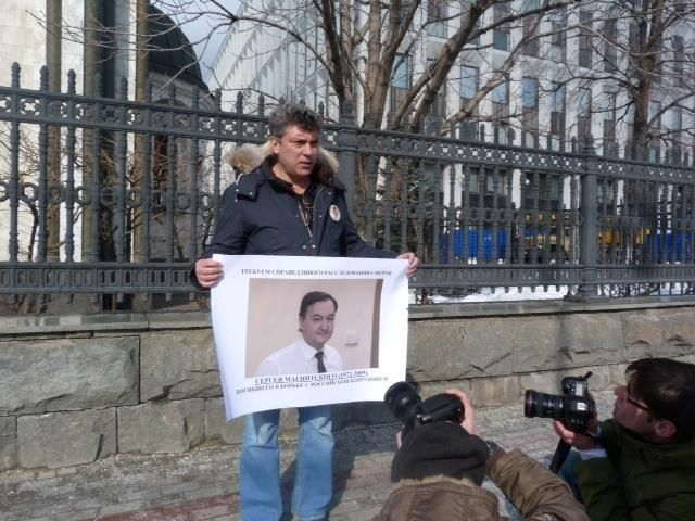 <em>Protesting the death in prison of Russian lawyer Sergei Magnitsky which led to US sanctions against Russia.</em>