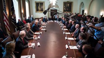 WASHINGTON, DC - JULY 31: President Donald Trump speaks during a cabinet meeting in the Cabinet Room of the White House in Washington, DC on Monday, July 31, 2017. (Photo by Jabin Botsford/The Washington Post via Getty Images)