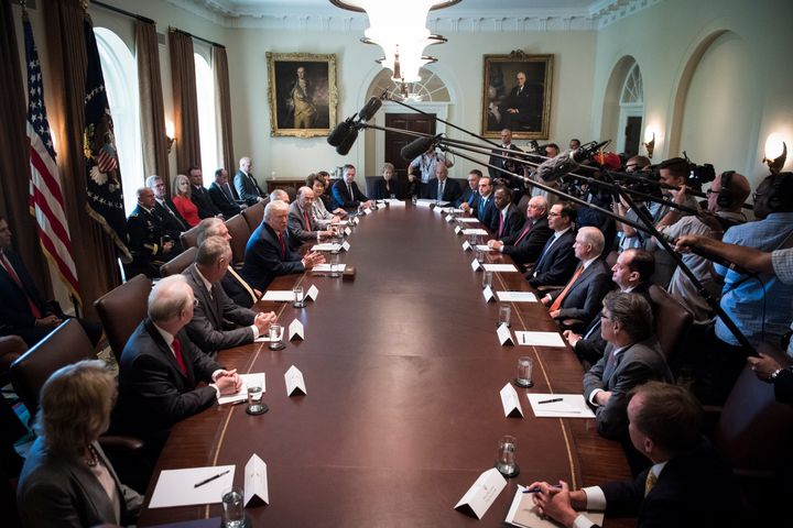 President Donald Trump speaks during a cabinet meeting in the Cabinet Room of the White House in Washington, DC on Mond