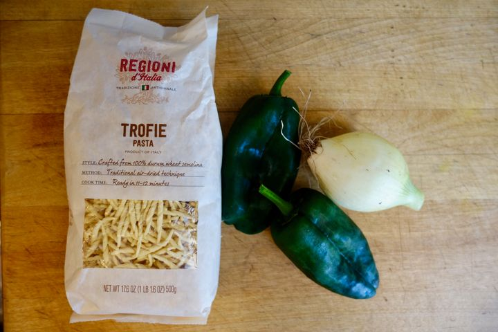 <p>Trofie pasta and its main accompaniments</p>