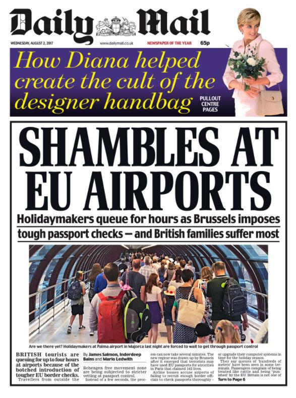 Wednesday's Daily Mail front page expressed outrage at EU
