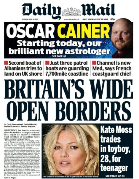 The Mail criticises the UK's 'wide open