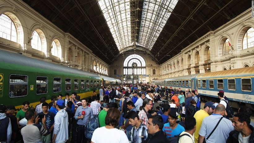 Migrants at the railway station in Hungary