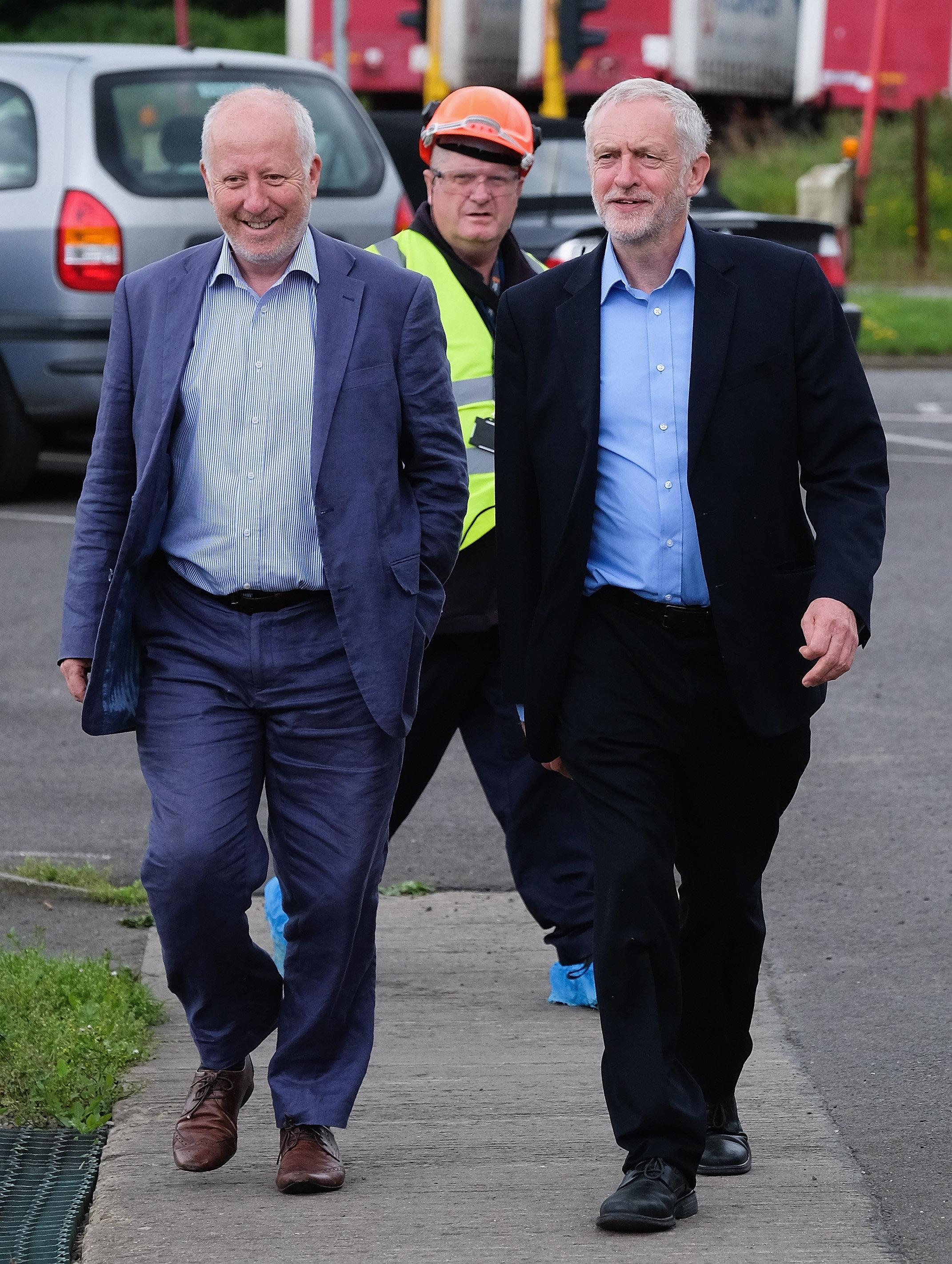 Jeremy Corbyn (R) and Shadow Transport SecretaryAndy