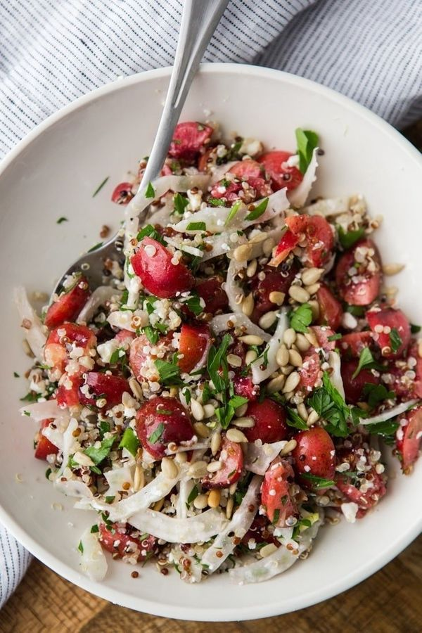 "<strong>Get the <a href=""https://naturallyella.com/quinoa-fennel-and-cherry-salad/"" target=""_blank"">Cherry Salad with Quinoa"