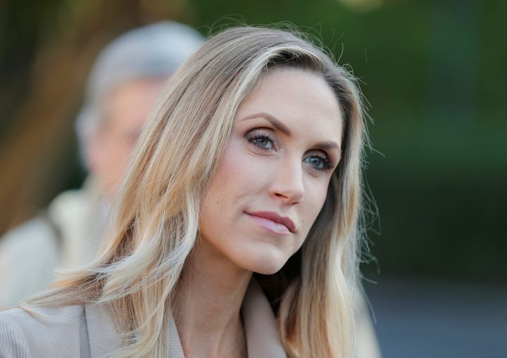 Lara Trump listens as her husband, Eric Trump, gave a speech during last year's campaign.