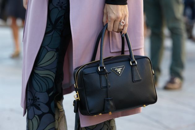 Black Prada bag seen before Cristiano Burani show during Milan Fashion Week  Day 2, Spring 48a52086d4