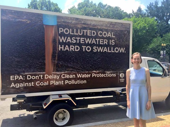 Mary Anne Hitt in front of the mobile billboard at the EPA headquarters in Washington, DC, on the day of the hearing.