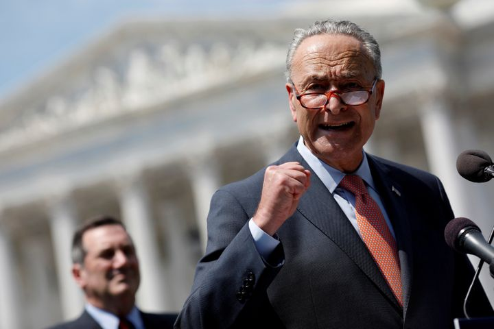 Senate Minority Leader Chuck Schumer (D-N.Y.) speaks during a press conference announcing new trade policies on Aug. 2, 2017.