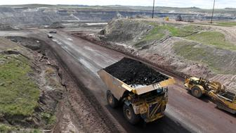 GILLETTE, WY - May 08: A truck loaded with coal is viewed at the Eagle Butte Coal Mine which is operated by Alpha Coal on Monday May 08, 2017 in Gillette, WY. The area is a large producer of coal. Gillette uses the moniker of 'The Energy Capital of the Nation'. (Photo by Matt McClain/The Washington Post via Getty Images)