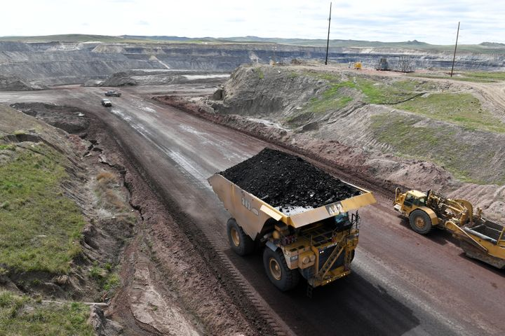 A truck loaded with coal is viewed at the Eagle Butte Coal Mine which is operated by Alpha Coal in May in Gillette, Wyoming.