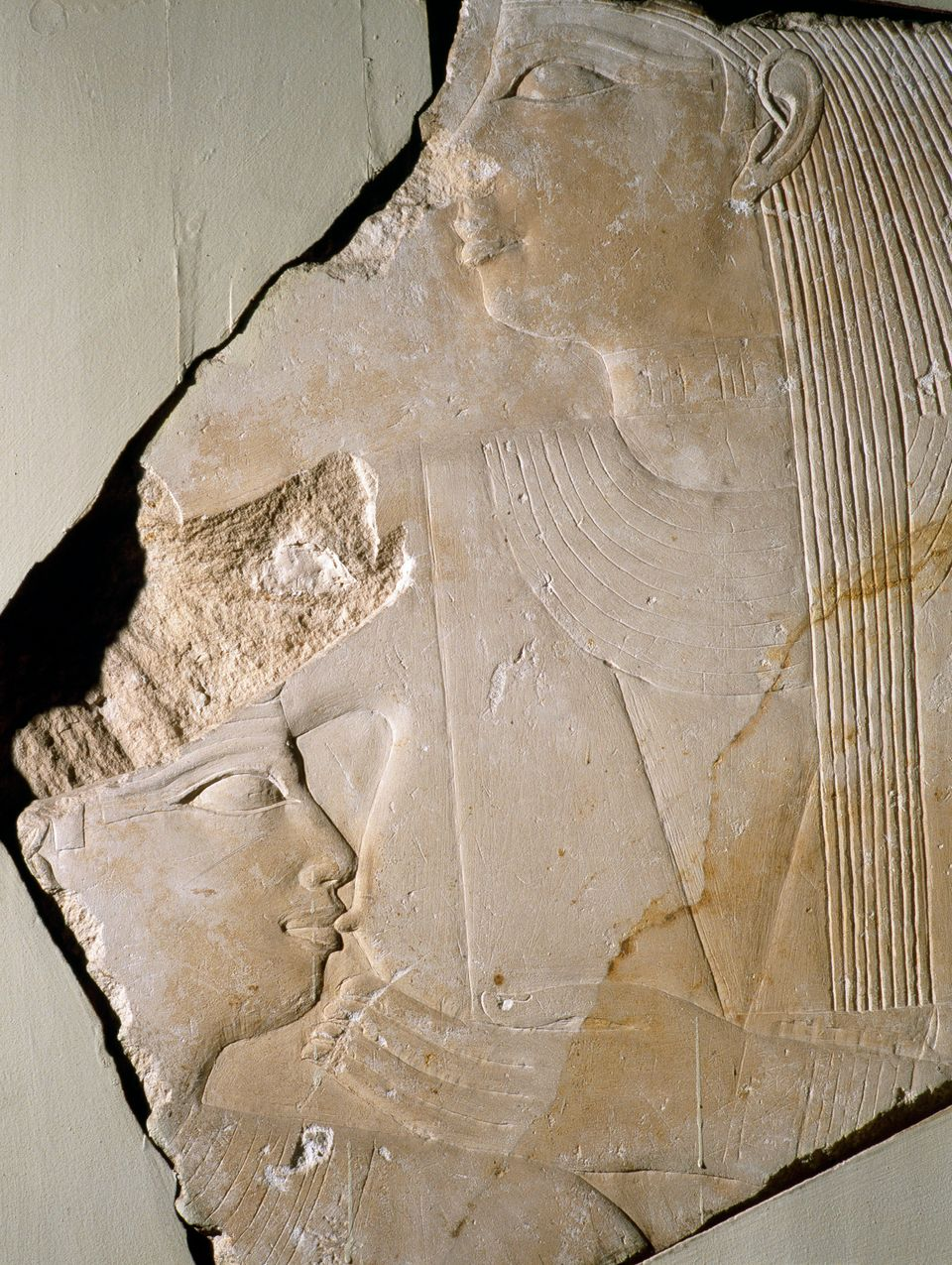 <i>Unas is suckled by an unknown goddess. A detail of a relief from the temple of King Unas at Saqqara, Egypt. 5th dynasty c