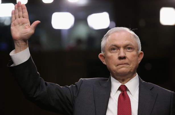 WASHINGTON, DC - JUNE 13:  Attorney General Jeff Sessions is sworn-in prior to testifying before the Senate Intelligence Committee on June 13, 2017 in Washington, DC. The nation's chief law enforcement officer was expected to face sharp questioning on his prior contacts with Russian ambassador Sergey Kislyak and his involvement in the firing of FBI director James Comey.  (Photo by Win McNamee/Getty Images)