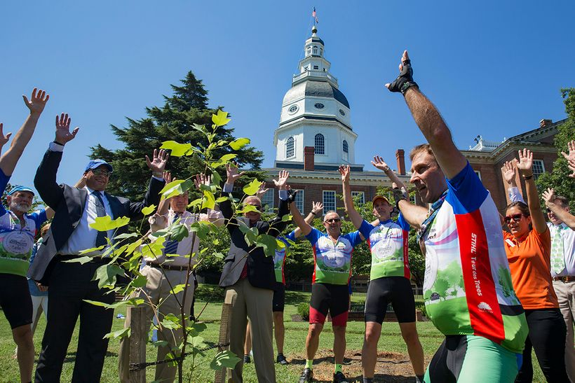 STIHL Tour des Tree riders and Maryland dignitaries dedicating a Liberty Tree on the Statehouse grounds.