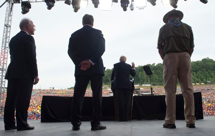 President Donald Trump speaks during the National Boy Scout Jamboree at Summit Bechtel National Scout Reserve in Glen Jean, W