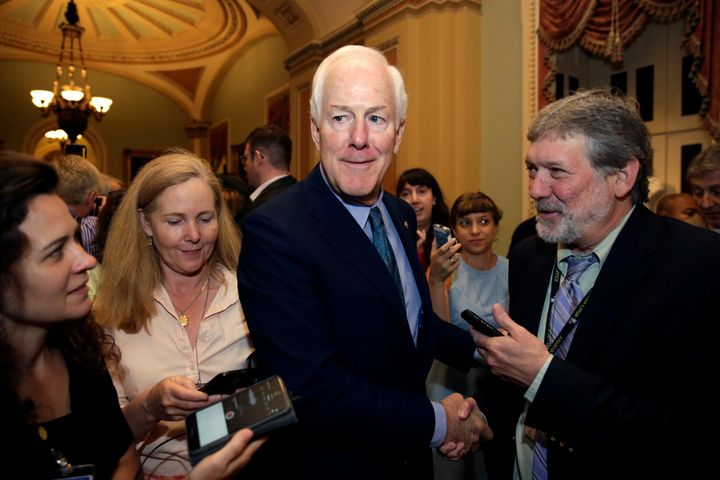 Reporters surround Sen. John Cornyn (R-Texas) ahead of a vote to repeal Obamacare.He's probably telling them thin