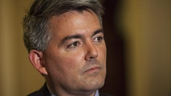 WASHINGTON, USA - JUNE 18: Senator Cory Gardner holds a press conference on the authorization of the National Defense Authorization Act vote in the Senate in Washington, USA on June 18, 2015. (Photo by Samuel Corum/Anadolu Agency/Getty Images)