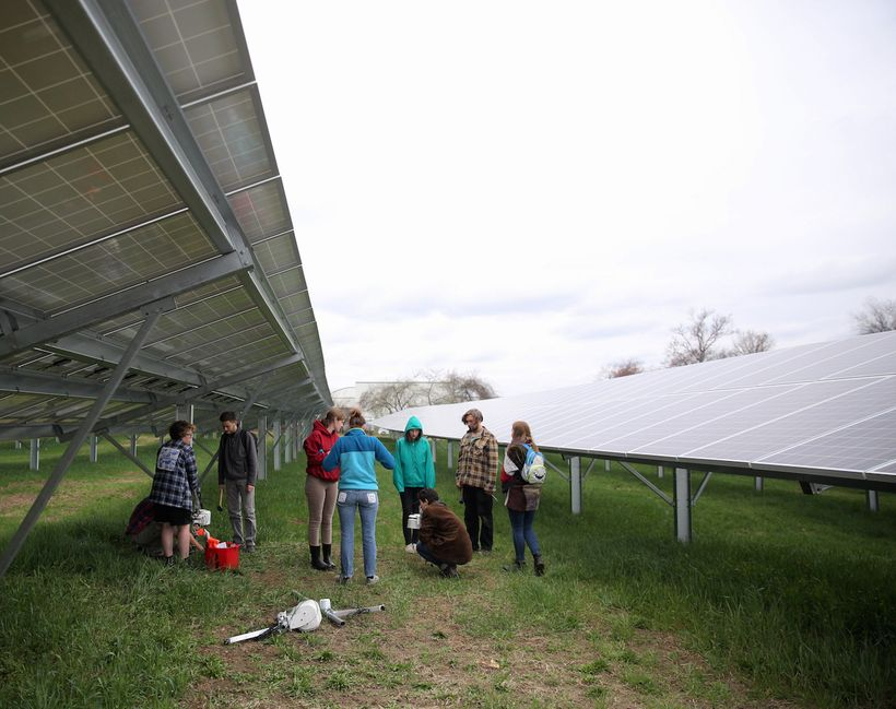 Hampshire students and faculty begin research on 19 acres of solar-array fields on campus as the college goes 100% solar for