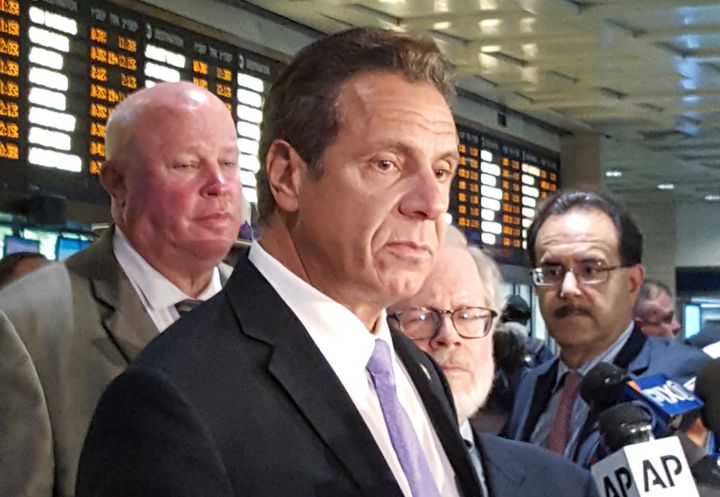 New York Gov. Andrew Cuomo holds a news conference at Penn Station on Sept. 19, 2016. Changes in an editorial about