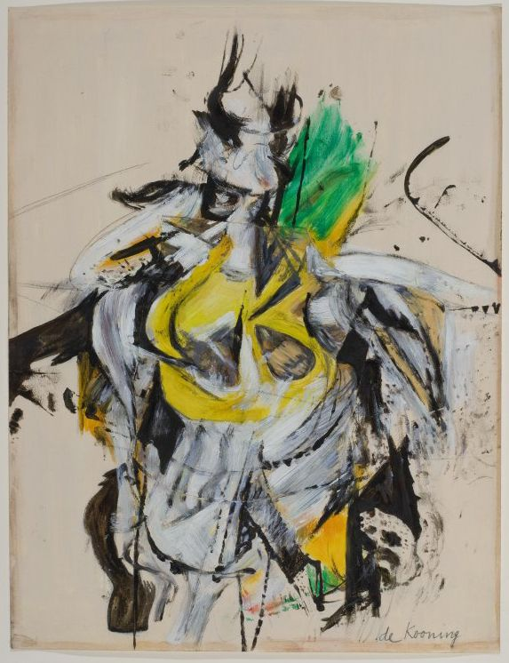 Willem De Kooning, <em>Untitled (Standing Woman),</em> (1951-52), Oil Enamel, Charcoal and Collage on Cream Paper, <em>Gift o