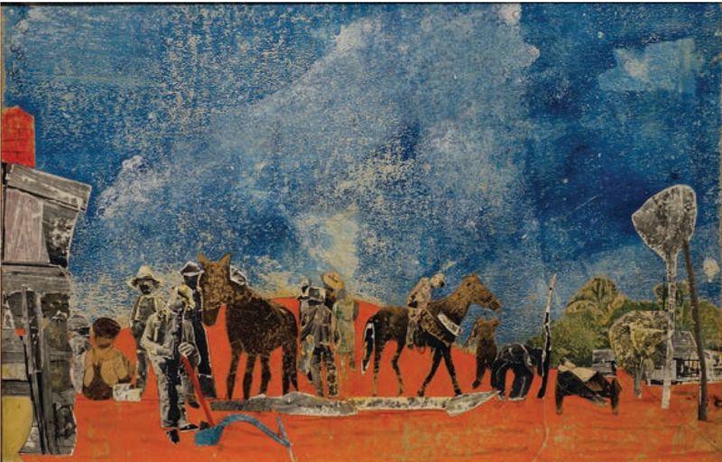Romare Howard Bearden, <em>Carolina Red </em>(1972), Oil Paint and Collage on Wood, <em>Friends of Housatonic Museum</em> <em