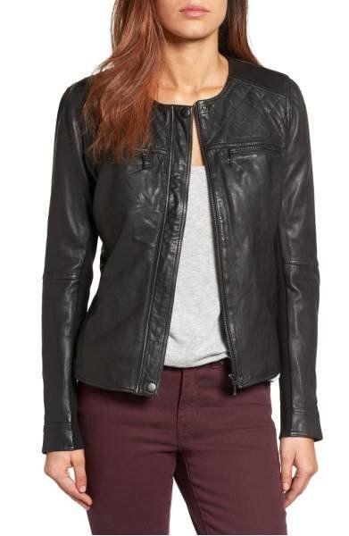 "<a href=""http://shop.nordstrom.com/s/caslon-collarless-leather-jacket-regular-petite/4255133?origin=outfit&fashionSize=La"