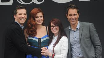 LOS ANGELES, CA - AUGUST 02:  Actors Sean Hayes, Debra Messing, Megan Mullally and Eric McCormack at the 'Will & Grace' Ribbon Cutting Ceremony held on August 2, 2017 in Los Angeles, California.  (Photo by Albert L. Ortega/Getty Images)