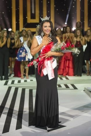 <p>Triana Browne after being crowned Miss Oklahoma.</p>
