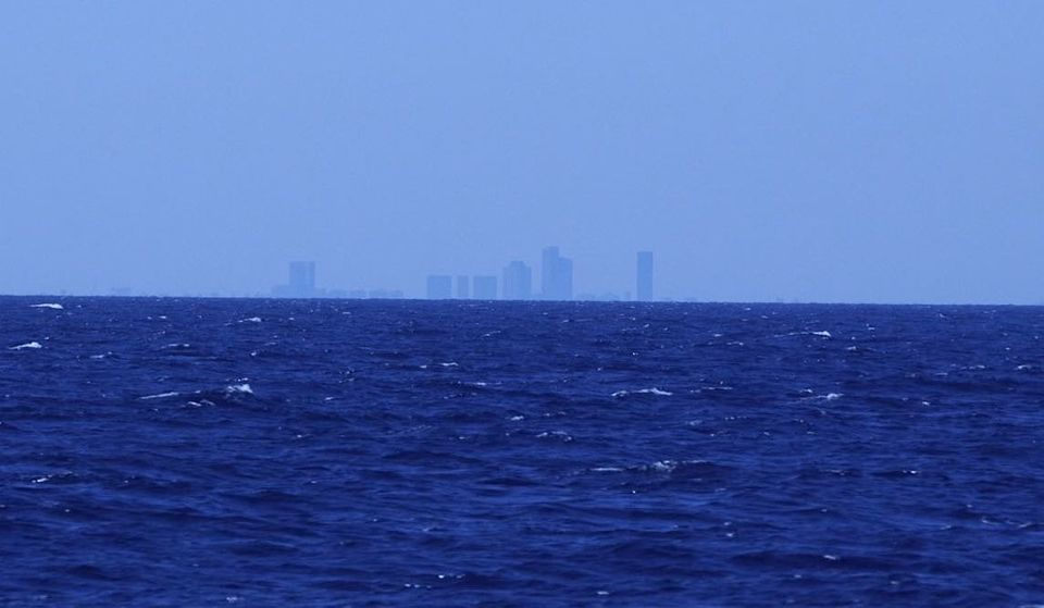 A picture taken from the Aquarius by HuffPost UK in which the buildings of Tripoli can be seen in the...