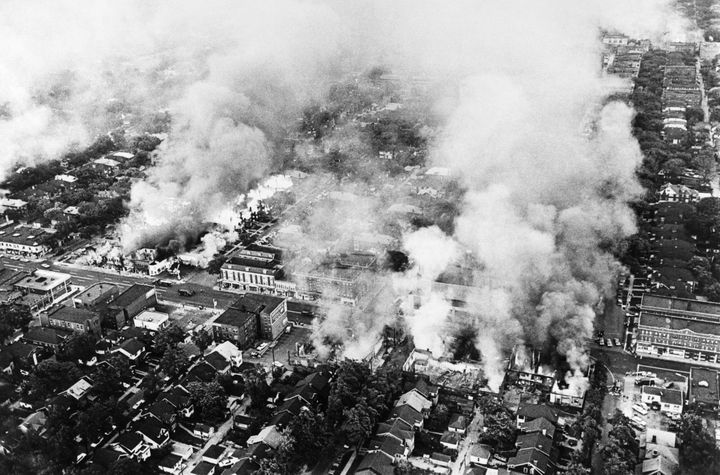 Aerial view of burning buildings in Detroit on July 25, 1967 during riots that erupted in Detroit following a police operatio