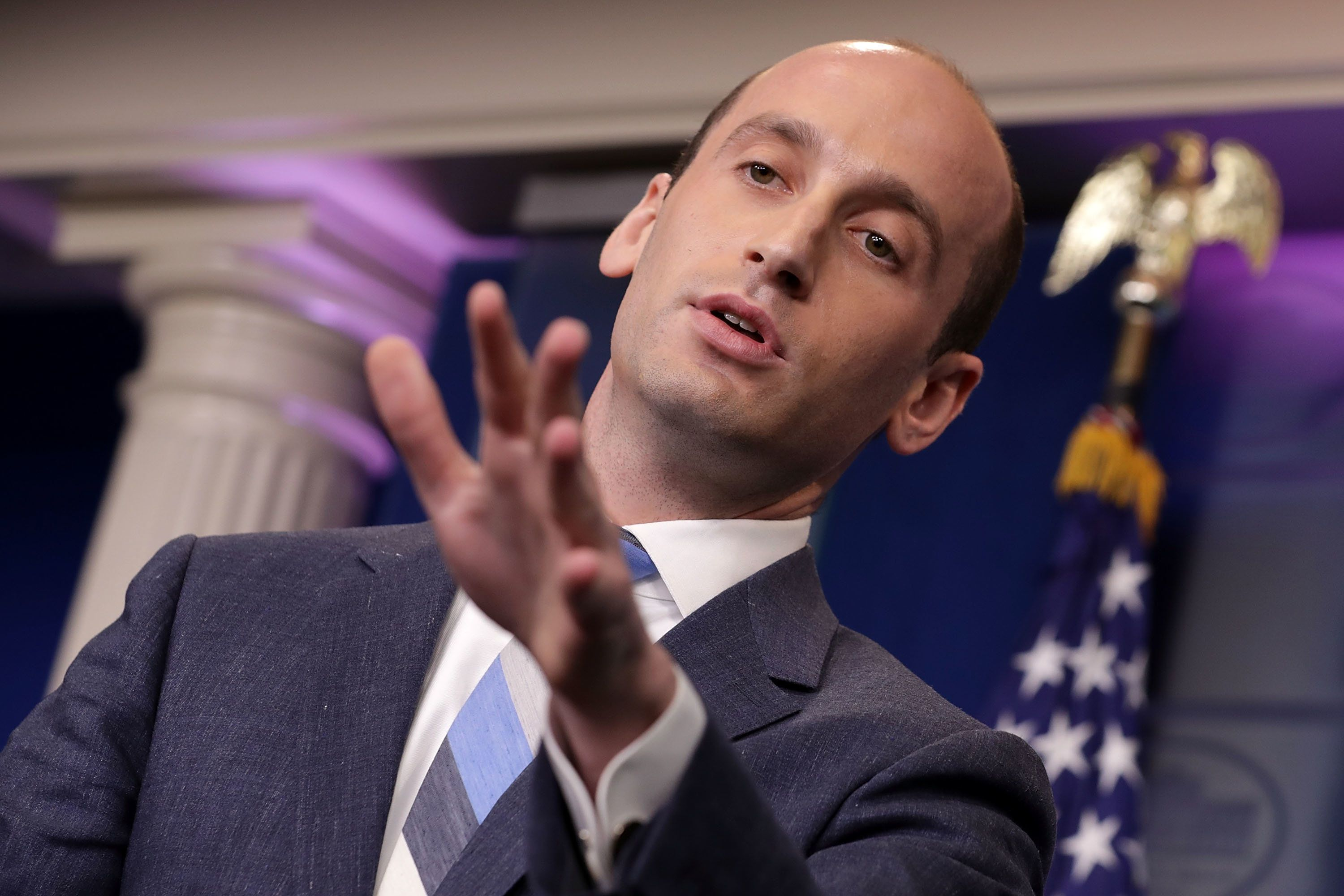 WASHINGTON, DC - AUGUST 02:  Senior Advisor to the President for Policy Stephen Miller talks to reporters about President Donald Trump's support for creating a 'merit-based immigration system' in the James Brady Press Briefing Room at the White House August 2, 2017 in Washington, DC. Earlier in the day President Donald Trump signed bipartisan legislation into law placing new sanctions on Russia and reducing his ability to lift the sanctions on Moscow.  (Photo by Chip Somodevilla/Getty Images)