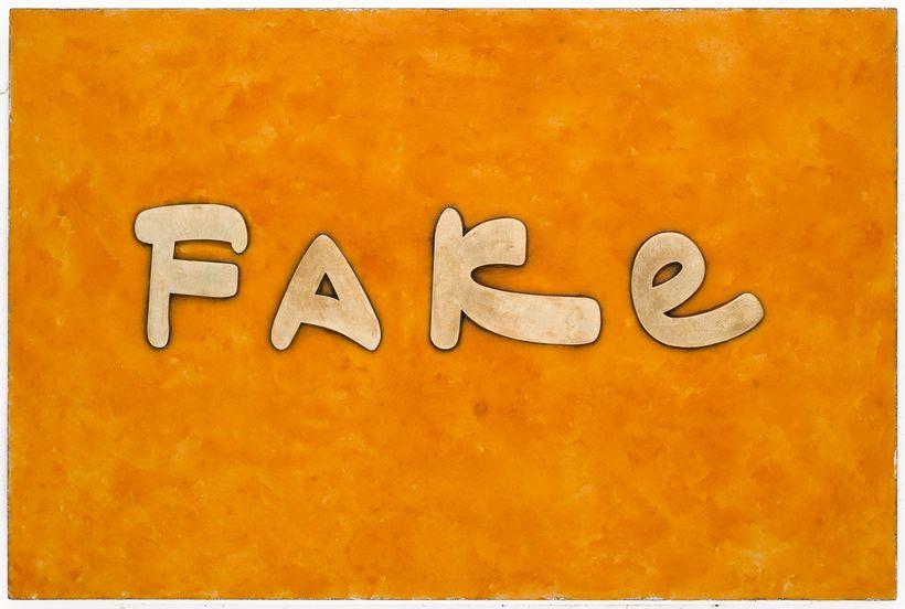 """<em>Fake</em>, 2017, Cheetos, fake gold, acrylic on board, 20""""x30"""""""