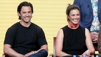 BEVERLY HILLS, CA - AUGUST 03:  Actors Milo Ventimiglia (L) and Mandy Moore of 'This Is Us' speak onstage during the NBCUniversal portion of the 2017 Summer Television Critics Association Press Tour at The Beverly Hilton Hotel on August 3, 2017 in Beverly Hills, California.  (Photo by Frederick M. Brown/Getty Images)